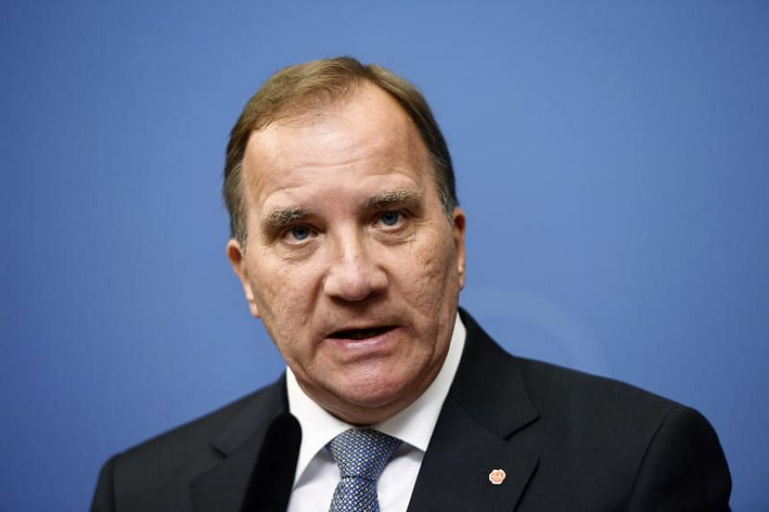 Swedish Prime Minister Stefan Lofven attends a press conference at the government headquarters Rosenbad in Stockholm on Sept 12, 2018.