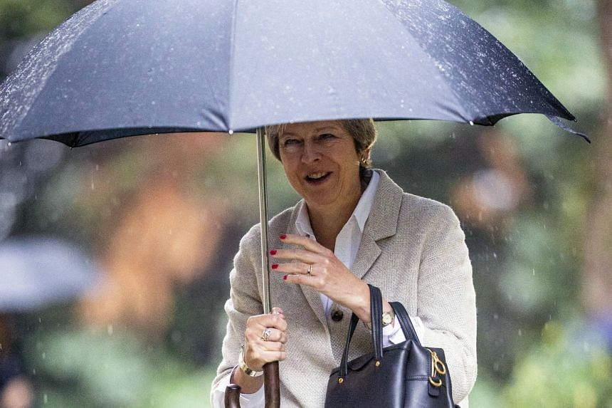 May arriving for a Sunday church service near her Maidenhead constituency in Britain on Sept 23, 2018.