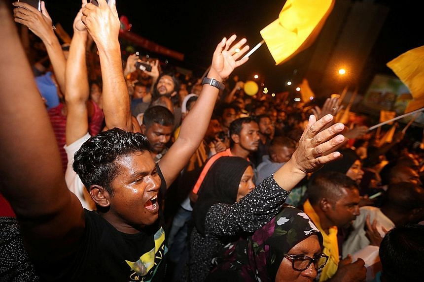 Supporters of Mr Ibrahim Mohamed Solih celebrating on the streets of Male after the release of the election results.