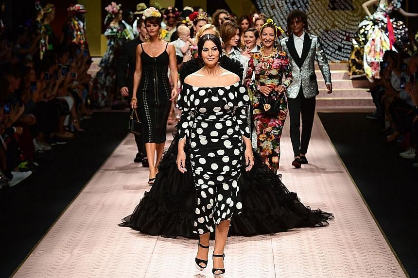Italian actress Monica Bellucci (left) and American model Ashley Graham (above) presented the latest creations by Dolce & Gabbana on Sunday.