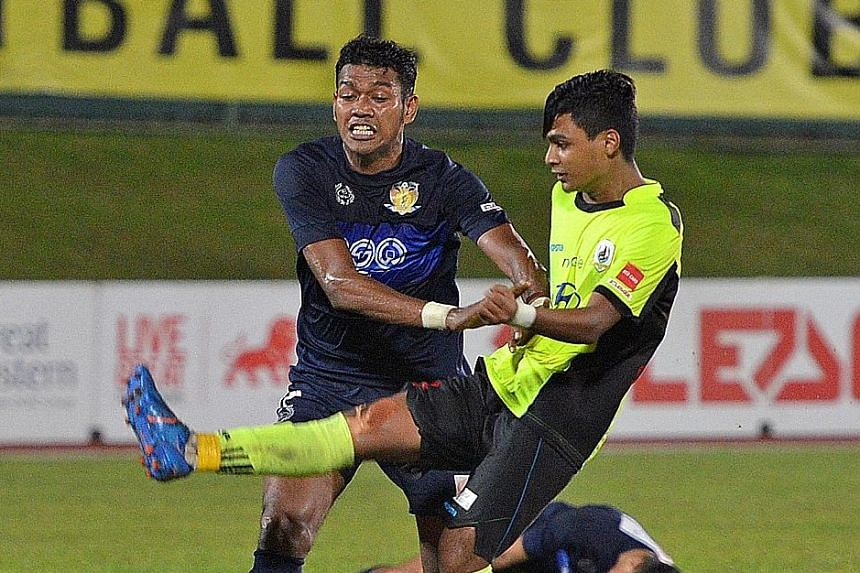 Saifullah Akbar (in yellow) marking his professional debut with a goal for Tampines Rovers in The New Paper League Cup in 2016. He recently turned down an offer to play for Tenerife's reserve side in the Spanish fourth tier.