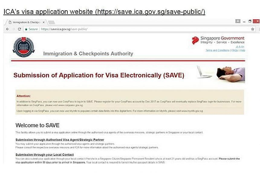 The Immigration and Checkpoints Authority has lodged a police report about a fake website (left) that is similar to the authority's real visa application webpage (right).