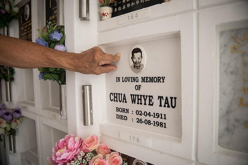 The relocated niche of the late Mr Chua Whye Tau at Choa Chu Kang Columbarium. The NEA said that after receiving a query from a family, it sent samples for lab tests and ascertained that about 8,600 niches, out of the 13,000 that had been relocated,
