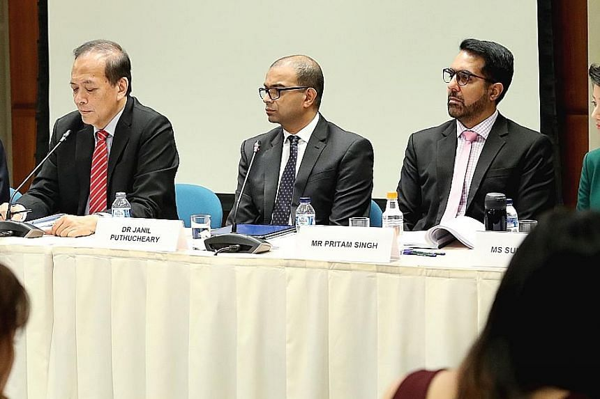 Workers' Party chief Pritam Singh (far right) at a press conference held by the Select Committee on Deliberate Online Falsehoods last Thursday. With him are committee chairman Charles Chong (left) and fellow committee member Janil Puthucheary. The co