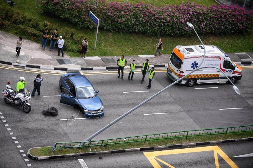 The scene of an accident in Lorong 1 Toa Payoh on April 19, 2018. The driver was unhurt but his car was severely damaged.