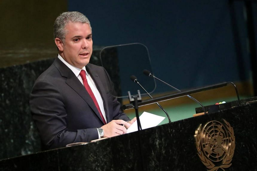 Colombian President Ivan Duque speaks at the Nelson Mandela Peace Summit during the 73rd United Nations General Assembly in New York, on Sept 24, 2018.