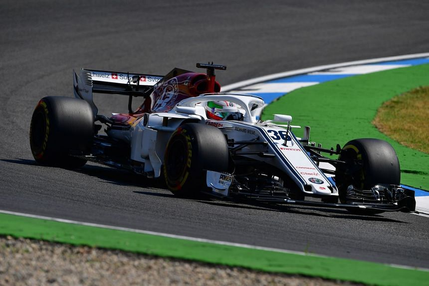 Antonio Giovinazzi steers his car during the first free practice session ahead of the German Formula One Grand Prix at the Hockenheimring racing circuit, on July 20, 2018 in Hockenheim, southern Germany.