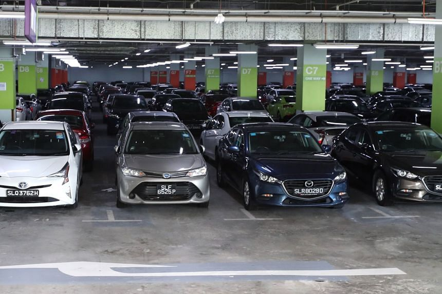 Cars from Lion City Rental at the Big Box carpark in Jurong on Sept 24, 2018.