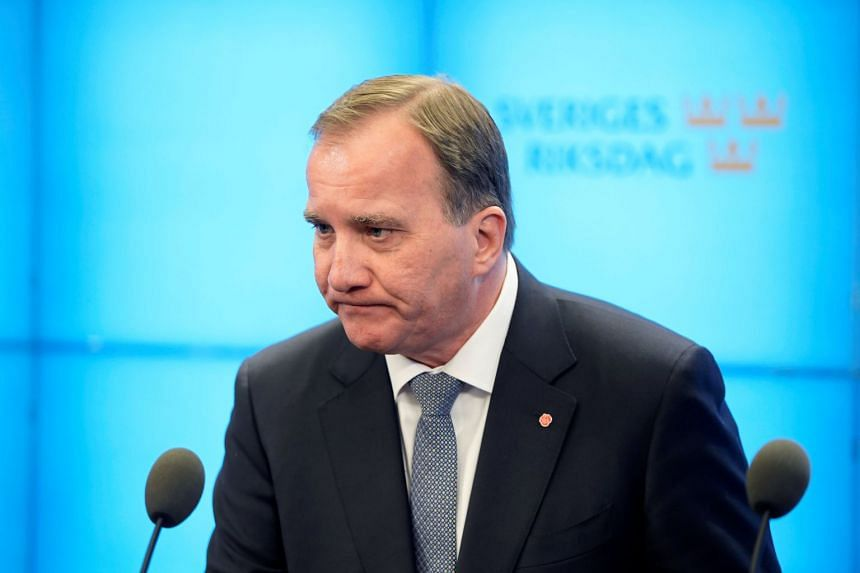 Swedish Prime Minister Stefan Lofven speaks to the press after he was ousted in no-confidence vote in Stockholm on Sept 25, 2018.