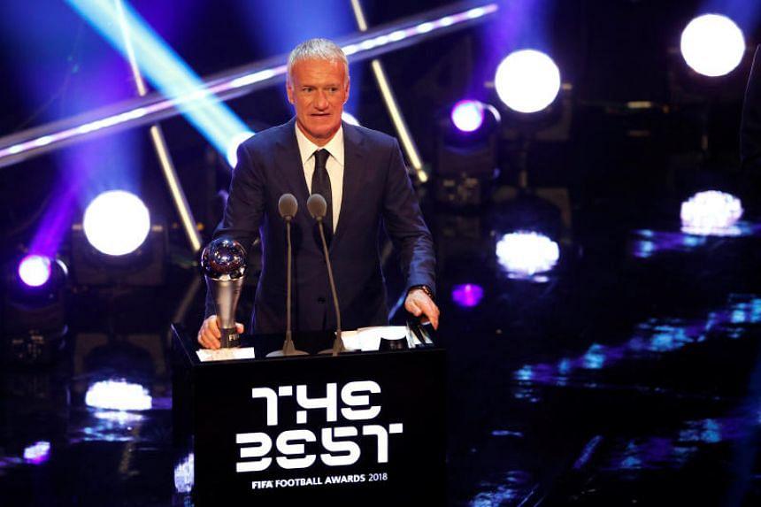 Didier Deschamps after winning the Best Men's Coach award on Sept 24, 2018.