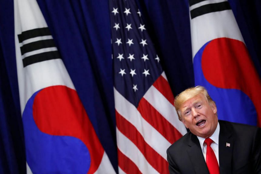 US President Donald Trump speaks to the news media during a bilateral meeting with South Korean President Moon Jae-in on the sidelines of the 73rd United Nations General Assembly in New York, US, on Sept 24, 2018.