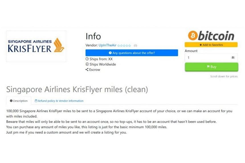A screengrab of a Dark Web marketplace advertisement selling stolen frequent flier miles.