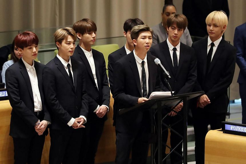 South Korean boy band BTS speaking at the United Nations headquarters in New York, Sept 24, 2018.