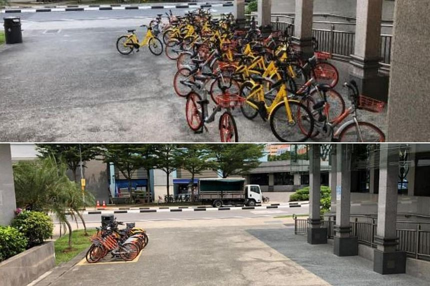 Before (top) and after the implementation of bicycle parking facilities at Little India MRT station.