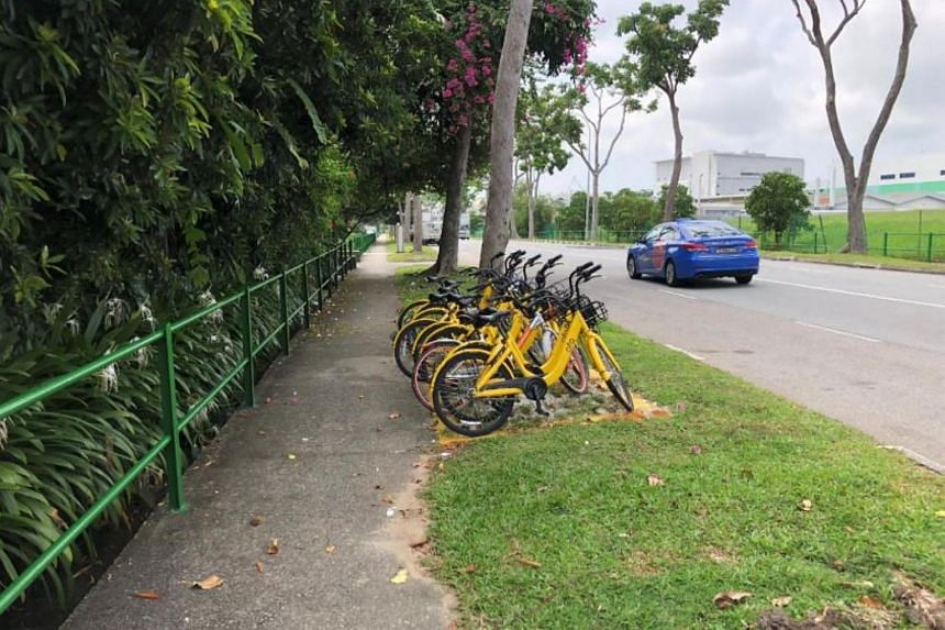 The scene in Loyang Crescent after the implementation of a bicycle parking zone.