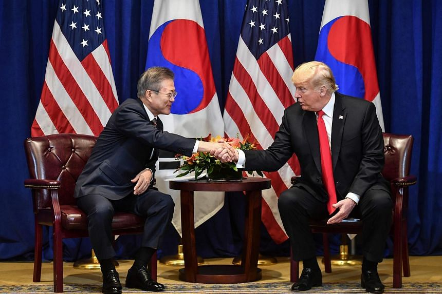 US President Donald Trump (right) and his South Korean counterpart Moon Jae-in signed the agreement on Sept 24, 2018.