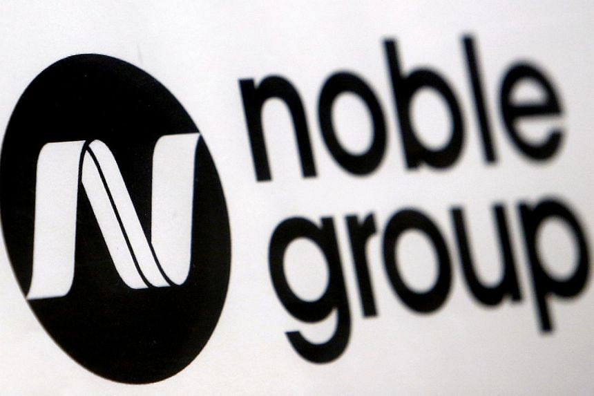 File photo showing the logo of Noble Group at an event in 2015.