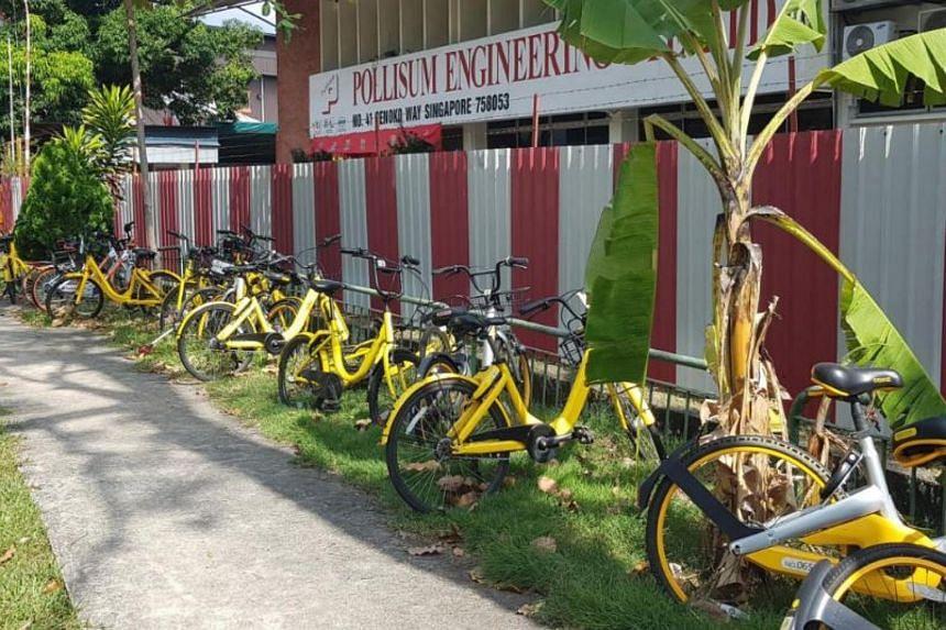Bicycles parked haphazardly in Senoko Way.