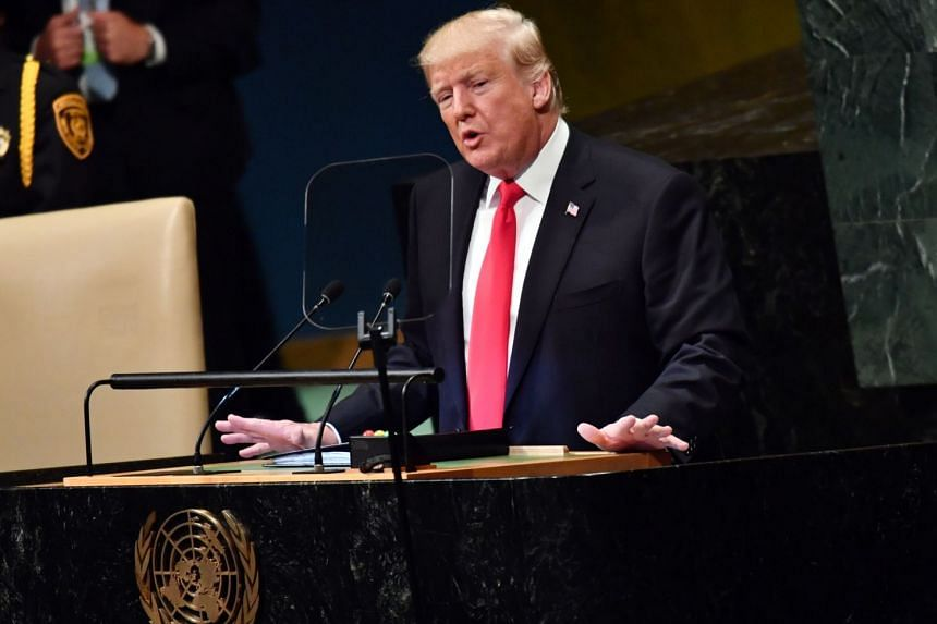 US President Donald Trump addresses the 73rd session of the General Assembly at the United Nations in New York, on Sept 25, 2018.