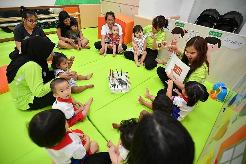 A story-telling session at the Infant Bay of PCF Sparkletots @ Bishan North Block 409 yesterday.