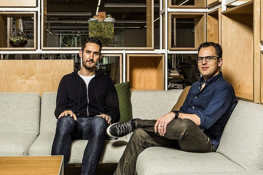 Instagram founders Kevin Systrom (right) and Mike Krieger (far right) were reportedly frustrated with Facebook chief Mark Zuckerberg (above) over the direction of the photo-sharing app, which was acquired by Facebook in 2012.