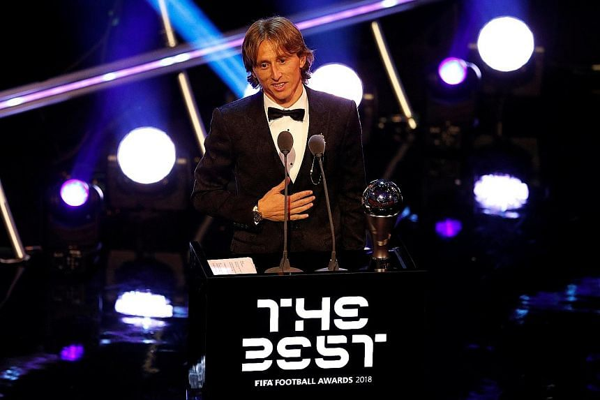 Luka Modric delivering his speech after winning Fifa's Best Men's Player award. The 33-year-old playmaker led Real Madrid to their third straight Champions League title last season.