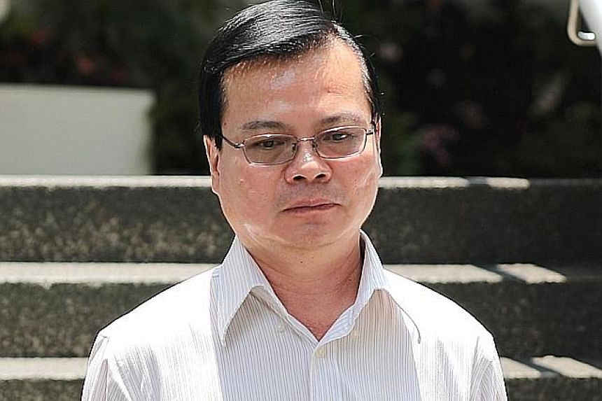 Ang Mo Kio Town Council's former general manager Wong Chee Meng at the State Courts. He pleaded not guilty to taking over $107,000 in bribes from two company directors of 19-ANC Enterprise and 19-NS2 Enterprise.