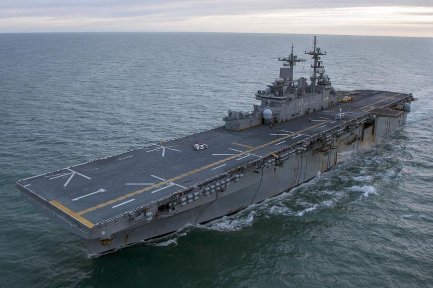 File photo of amphibious assault ship USS Wasp (LHD 1) as it transits the Strait of Magellan, on Dec 10, 2017.