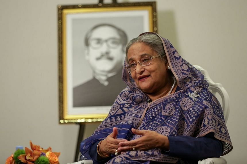 Bangladeshi Prime Minister Sheikh Hasina speaks during an interview at the Grand Hyatt Hotel in New York, on Sept 25, 2018.
