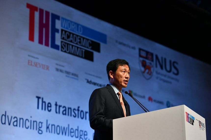Education Minister Ong Ye Kung at the Times Higher Education World Academic Summit on Sept 26, 2018. He said that universities should be evaluated in collaboration with the world outside of academia.