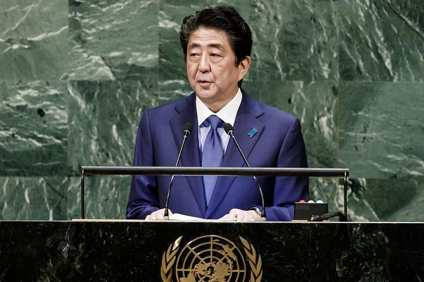 Japan Prime Minister Shinzo Abe addressing the UN General Assembly at the UN headquarters in New York, on Sept 25, 2018.