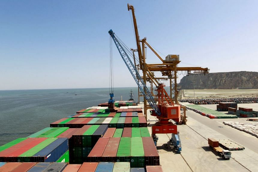 File photo of a container being loaded after the inauguration of the China-Pakistan Economic Corridor port in Gwadar, Pakistan, on Nov 13, 2016.
