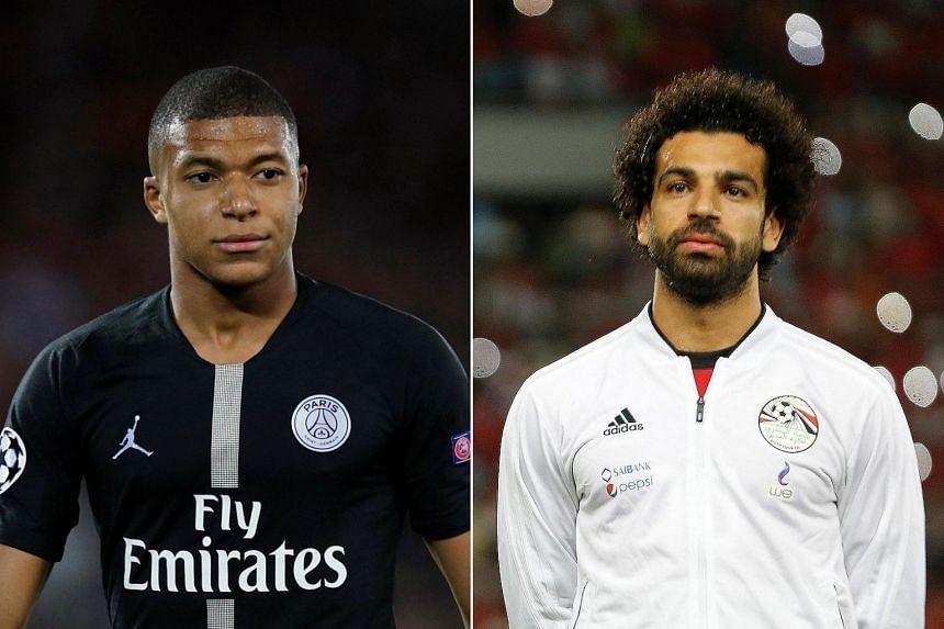 French teenage forward Kylian Mbappe (left) and Liverpool's Egyptian star Mohamed Salah.