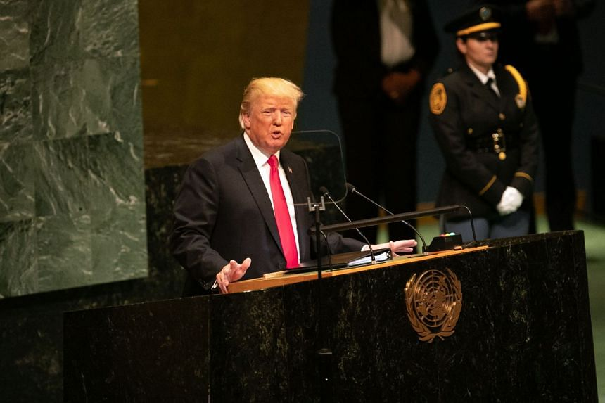 US President Donald Trump addressing the UN General Assembly at the UN headquarters in New York, on Sept 25, 2018.