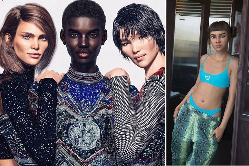 Balmain's computer-generated trio (from far left) Margot, Shudu and Zhi, and virtual influencer Miquela (above), who has 1.4 million Instagram followers.
