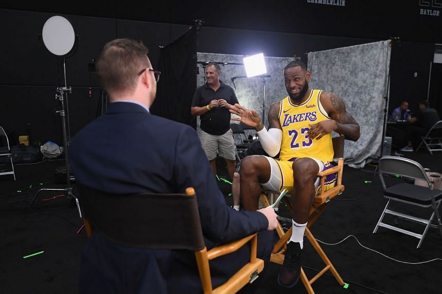Three-time NBA champion LeBron James enjoying his interview during the Los Angeles Lakers' media day at the UCLA Health Training Centre on Monday in El Segundo, California. P