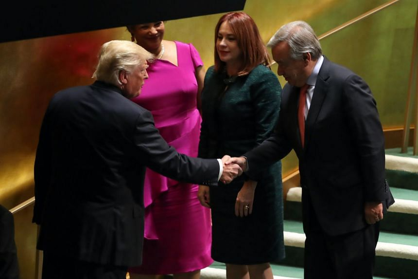 Guterres (right) greeting US President Donald Trump after Trump's speech at the UN on Sept 25, 2018.