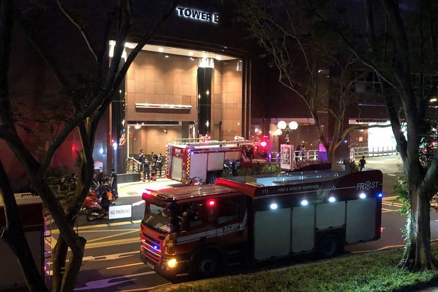 Fire engines outside Tower B of Ngee Ann City, where the Singapore Civil Defence Force said it responded at 5.08pm to a fire alarm call on Sept 26, 2018.
