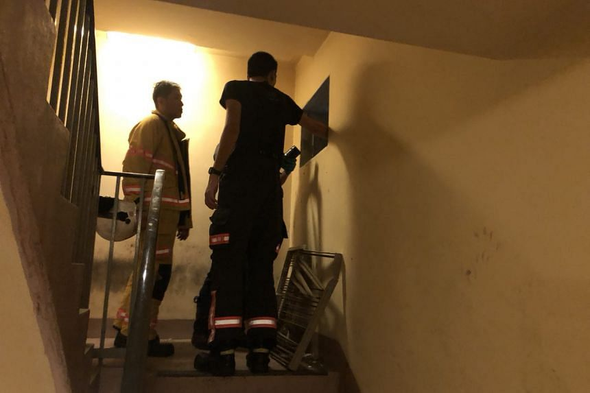 Police and Singapore Civil Defence Force (SCDF) officers examining a ventilation shaft in the stairwell of Tower B of Ngee Ann City. SCDF said that it extinguished a pile of smouldering trash in the shaft.