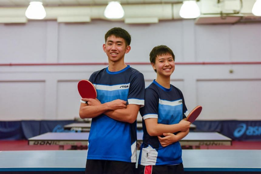 Table tennis players Koen Pang (left), 16, and Goi Rui Xuan, 17, will be representing Singapore at the upcoming Youth Olympic Games in Buenos Aires, Argentina.
