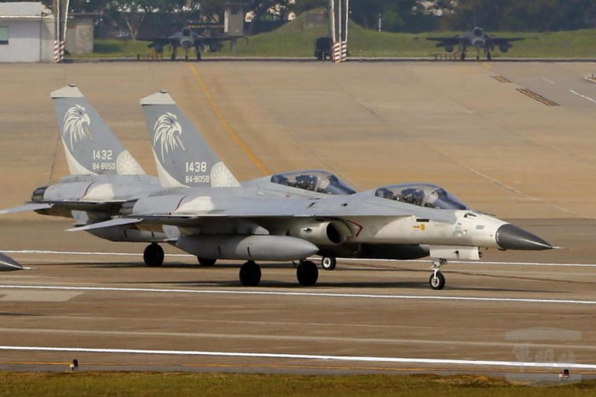 Two F-CK-1 warplanes at the Hualien Airbase in Hualien, eastern Taiwan, on June 4, 2018.