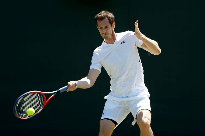 Britain's Andy Murray during a 2018 Wimbledon practice session.