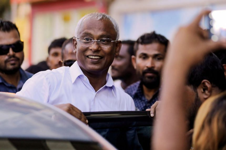 Maldivian president-elect Ibrahim Mohamed Solih arrives at an event with supporters in Male.