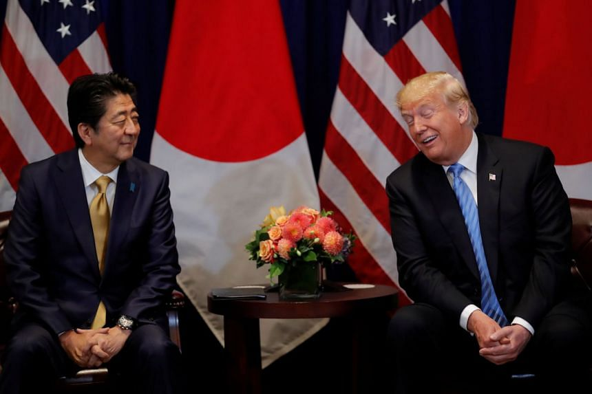Trump (right) meeting Abe on the sidelines of the United Nations General Assembly.