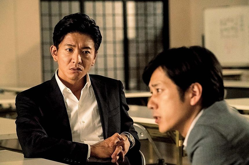 In Killing For The Prosecution, Takuya Kimura (far left) and Kazunari Ninomiya (left) play prosecutors who work together on a murder case.