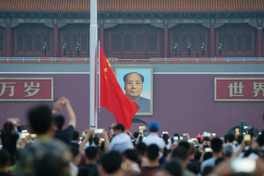 A flag-raising ceremony at Tiananmen Square, in Beijing, China, on July 1, 2018.
