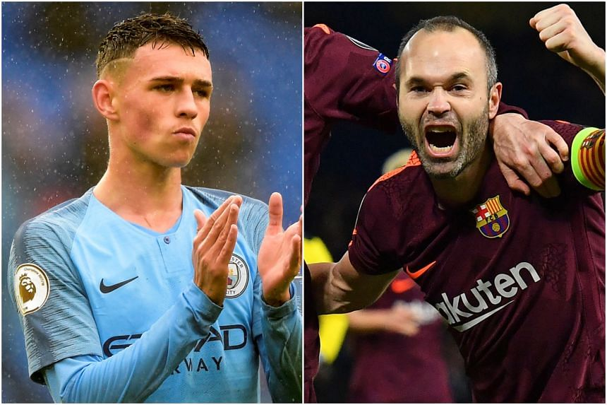 Manchester City's Phil Foden (left) and Barcelona legend Andres Iniesta.