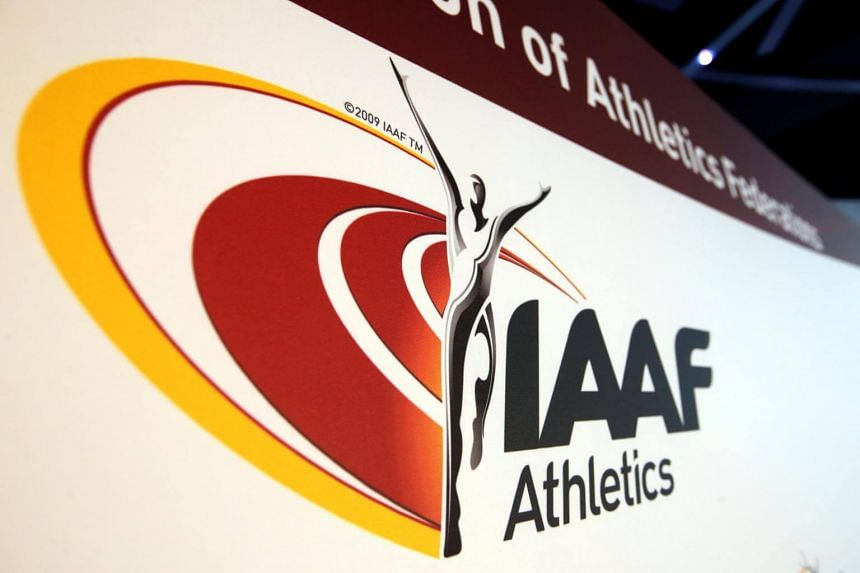 The logo of the International Association of Athletics Federations is seen in Monaco, on March 11, 2016.