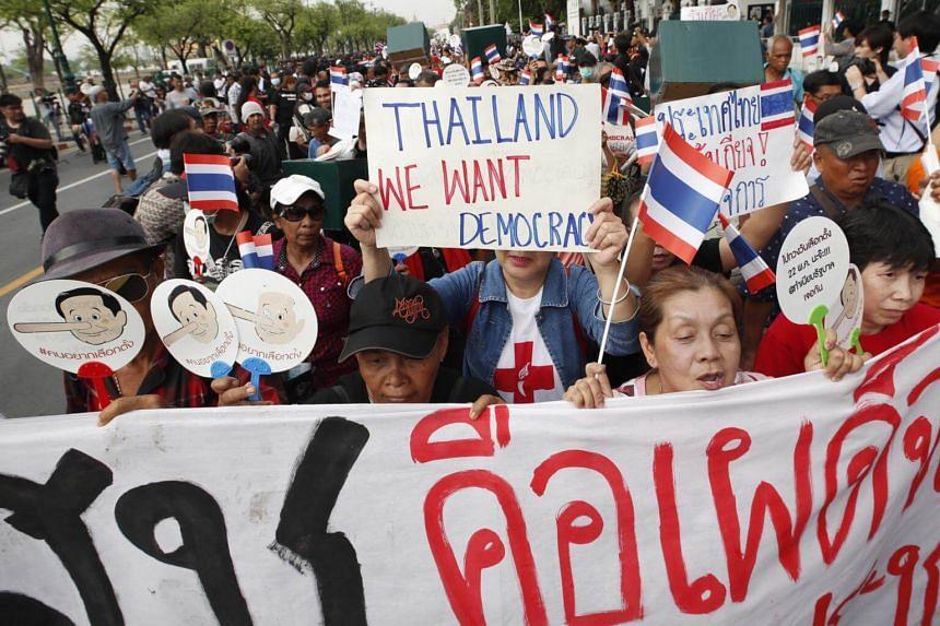 Thai pro-democracy protesters at a rally in Bangkok, on May 22, 2018.