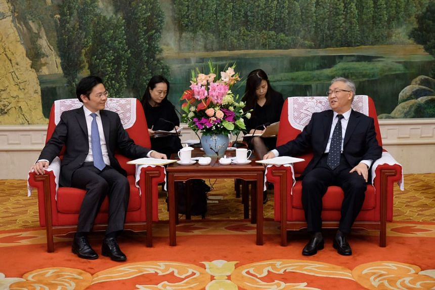 National Development Minister Lawrence Wong meeting Tianjin mayor Zhang Guoqing at the Tianjin Guesthouse on Sept 27, 2018.